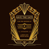 Save the Date - Wedding Invitation Card - Art Deco Vintage Style — Stock Vector