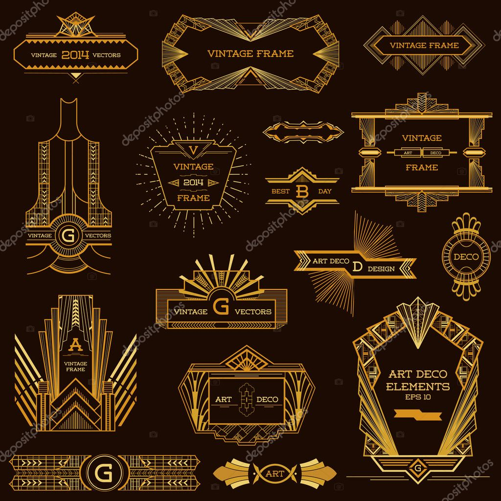 Art Deco Vintage Frames And Design Elements In Vector Stock