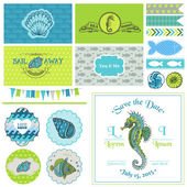 Vintage Seahorse Party Set - for Party Decoration, Scrapbook — Stock Vector