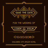 Save the Date - Wedding Invitation Card - Art Deco Vintage Style — Stockvektor
