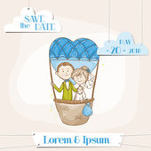 Bride and Groom - Save the Date Wedding Card - in vector — Stok Vektör