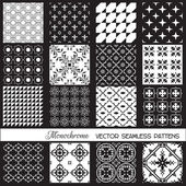 Seamless backgrounds Collection - Monochrome Set — Stock Vector