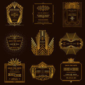 Save the Date - Set of Wedding Invitation Cards - Art Deco Style — Cтоковый вектор