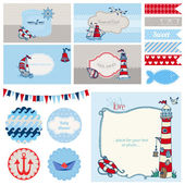 Baby Shower Nautical Set - for Party Decoration, Scrapbook — Stock Vector