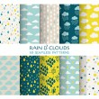 10 Seamless Patterns - Rain and Clouds - Texture for wallpaper — Stock Vector #49899851