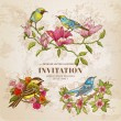 Set of Vintage Flowers and  Birds - hand-drawn Illustration — Stock Vector #49899883