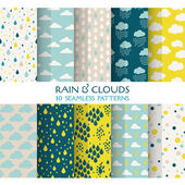 10 Seamless Patterns - Rain and Clouds - Texture for wallpaper — Stock vektor