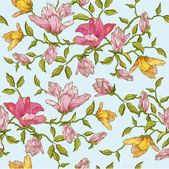 Vintage Floral Seamless Background — Stock Vector