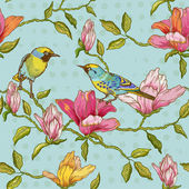 Vintage Seamless Background - Flowers and  Birds — ストックベクタ