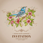 Spring Bird Illustration -Vintage Card - hand-drawn in vector — Stok Vektör