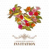 Retro Background - Flowers and  Birds - for design and scrapbook — Stok Vektör