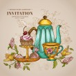 Vintage Menu or Invitation Card - with Teapot and Desserts — 图库矢量图片 #50248347
