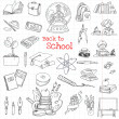 Back to School Doodles - Hand-Drawn Vector Illustration Design Elements — Stock Vector