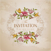 Vintage Floral Card - with place for your text - in vector — Stockvektor