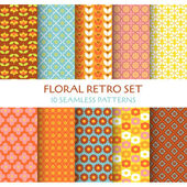 10 Seamless Patterns - Floral Retro Set - texture for wallpaper — Stok Vektör
