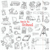 Back to School Doodles - Hand-Drawn Vector Illustration Design Elements — Stock Vector
