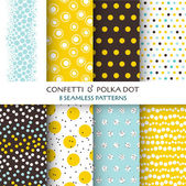 8 Seamless Patterns - Confetti and Polka Dot - texture — ストックベクタ