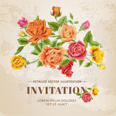 Floral Roses Vintage Card - for texture, design, wallpaper — Cтоковый вектор