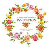 Vintage Roses Frame Card - in vector — Stock Vector