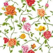 Sans soudure roses floraux fond - texture, conception, papier peint — Vecteur