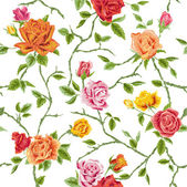 Seamless Floral Roses Background - texture, design, wallpaper — ストックベクタ