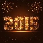 Happy New Year - 2015 - golden fireworks numbers - in vector — Stock Vector #51101565