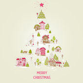 Christmas Card with Christmas Houses  - for design and scrapbook — Stok Vektör