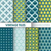 Vintage Tile Backgrounds - 8 seamless patterns for design — Stock Vector