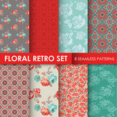 8 Seamless Patterns - Floral Retro Set - texture for wallpaper — Stok Vektör