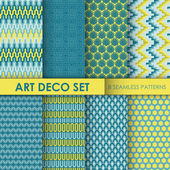 Vintage Art Deco Background Set - 8 seamless patterns for design — Stock Vector