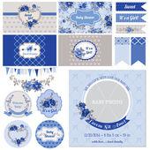 Scrapbook Design Elements - Baby Shower Flower Theme - in vector — Stock Vector