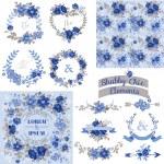 Vintage Floral Set - Frames, Ribbons, Backgrounds — Stock Vector #51426903