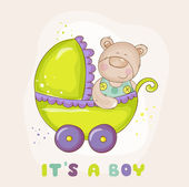 Baby Bear in Carriage - for Baby Shower or Arrival Card — Stockvector
