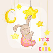 Baby Bunny with Stars and Moon - Baby Shower or Arrival Card — Stockvector
