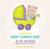 Baby Boy Arrival Card - Baby Bear in Carriage - in vector — Stock Vector