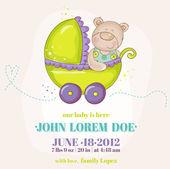 Baby Boy Arrival Card - Baby Bear in Carriage - in vector — Stockvektor
