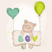 Yavru ayı balonlar - bebek duş veya bebek ulaşım kartları ile — Stok Vektör
