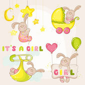 Baby Bunny Set - for Baby Shower or Arrival Card - in vector — Stock Vector