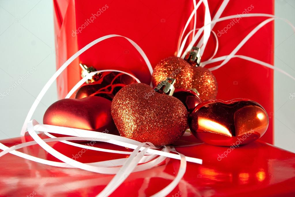 Gifts with red hearts  Stock Photo #18965805