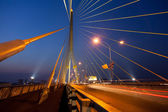 Bridge and roads evening. — Stock Photo
