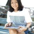 Asian girl playing ipad  — Stockfoto
