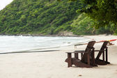 Wooden chairs on the beach. — Stock Photo