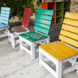 Colorful wooden chairs. — Stock Photo