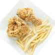 Fried chicken and french fries. — Stock Photo