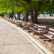 Benches along the path. — 图库照片