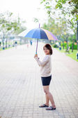Portrait Asian woman holding an umbrella. — Stock Photo