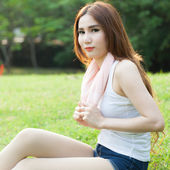Woman sitting tired after jogging. — Foto Stock