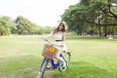 Woman are bicycling — Stock Photo