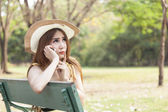 Woman talking on the phone — Stock Photo