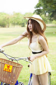 Woman bike handles — Stock Photo